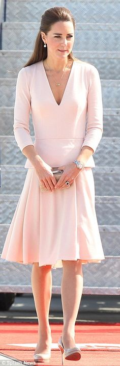 Duchess of Cambridge chose a pale pink Alexander McQueen for her Adelaide visit in South Australia