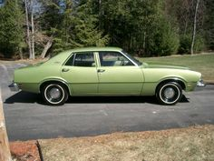 """Ford Maverick...My first car and yes it was this same pea green color. It  had a dent in the drivers door from my mom side swiping a telephone pole when it was still the """"family car"""". The windsheild was cracked and most of the time the heater didn't work (had to drive all bundled up and had to keep trying to defrost the """"inside"""" of the windsheild). But hey....I had an 8-track underdash what more could I ask for? You know you""""re old when you can remember this. ha ha ha!!  I called it the…"""