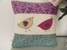 Small Birds and Floral Panelled Envelope Back Throw Cushion Freehand Machine Embroidery