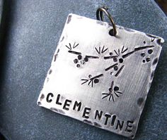 Custom Pet ID Tag Clementine in Hand Stamped by theCopperPoppy // you KNOW I had to pin this!! Love our little Clementine!