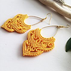 CURLY ORANGE macrame earrings. Lets be UNIQUE ✨ Materials: orange nylon macrame cord 0,8mm, golden drop connector, nickel free earwire. The size is 3 inch with earwire.  Designed and made by me handmade limited pair ✔️ these earrings are good for your casual style and will make