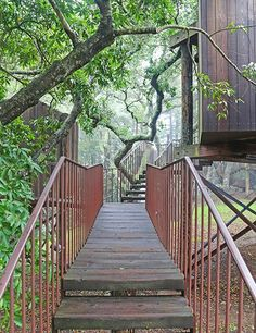 Post Ranch Inn, Big Sur, California.  A series of bridges and pathways leads to the mountainside Tree Houses.