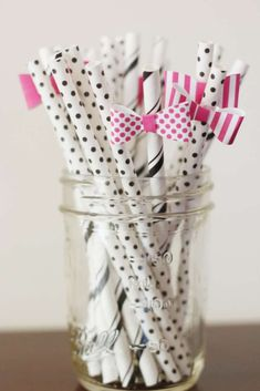 Black and white straws at a Kate Spade birthday party! See more party planning ideas at CatchMyParty.com!