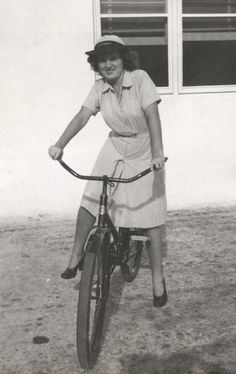 WW2 era Nurse. Only known Picture of the Columbia Compax Paratrooper bicycle in use on a military base.