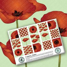 Poppies - 1 inch or 2 inch squares digital collage sheet by mermaidwiggle