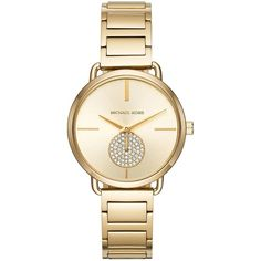 Michael Kors Portia Goldtone Stainless Steel Two-Hand Sub-Eye... ($225) ❤ liked on Polyvore featuring jewelry and watches