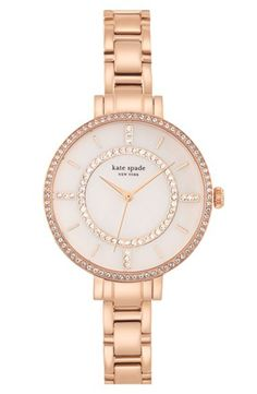 Women's kate spade new york 'gramercy' crystal bezel bracelet watch, 34mm - Rose Gold