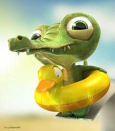 61 Ideas Baby Animals Cartoon Character Design For 2019 3d Cartoon, Cartoon Styles, Cartoon Characters, Character Illustration, Illustration Art, Baby Animals, Cute Animals, Baby Alligator, 3d Character