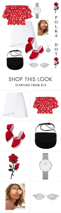"""""""🖤"""" by camille-scott02 ❤ liked on Polyvore featuring WÃ¥ven, Caroline Constas, Steve Madden, Daniel Wellington, Quay, Chanel and Kobelli"""