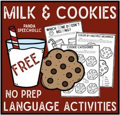 Your students will love completing these cookie themed language worksheets. There are pages for (depending on skill level). Great for food or cookie themes.This is just a sample of my full Milk & Cookies Quick No Prep Language pack. Speech Therapy Activities, Language Activities, Preschool Activities, Speech Language Pathology, Speech And Language, Receptive Language, Kindergarten, Milk Cookies, Therapy Ideas
