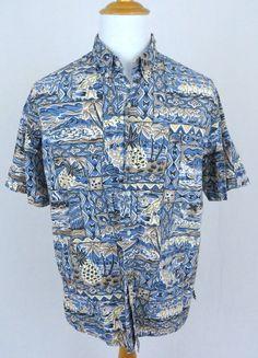 Reyn Spooner Shirt XL Hawaiian Surfer Luau Hula Kane Dancer Tiki Reverse Print #ReynSpooner #Hawaiian