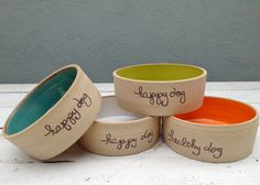 Personalized Dog Bowl; Ceramic Dog Dish; Happy Dog; Personalized Pet Dish; Colorful Dog Bowl