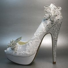 Wedding Shoes -- White Platform Peeptoe with Silver Crystals on Heel and Silver Crystal Butterfly. $275.00, via Etsy.