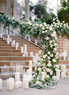 Stunning floral runner with greenery and white roses | Rebecca Yale Photography