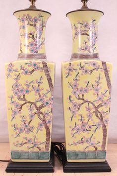 Nice Antique Vintage Pair Chinese Yellow Porcelain Table Lamps Square Vases