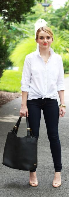 HOW TO STYLE A WHITE BUTTON DOWN SHIRT - POOR LITTLE IT GIRL