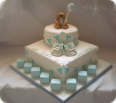 like the way this cake is. Maybe similar for eydie's hello kitty cake with cupcakes around bottom Christening Cake Boy, Christening Decorations, Baptism Cakes, Baby Boy Cakes, Cakes For Boys, Cupcakes, Cupcake Cakes, Comunion Cakes, Dedication Cake