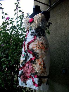 dress slip dress upcycled clothing shabby by radusport on Etsy, $95.00