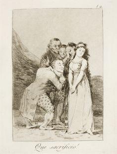 """Francisco de Goya: """"Que sacrificio!"""". Serie """"Los caprichos"""" [14]. Etching, aquatint and drypoint on paper, 198 x 148 mm , 1797-99. Museo Nacional del Prado, Madrid, Spain"""