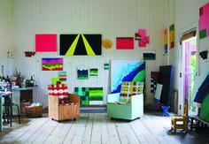 Mary Heilmann's Studio... like the random, colorful canvases.