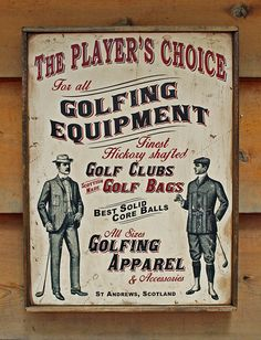 NEW Vintage wooden sign 'Player's Choice' golfing by VASSdesign. Original unique creation in Edwardian style art, with vintage frame. Great for the Golf lover, the Bar, Mancave, or lounge room!