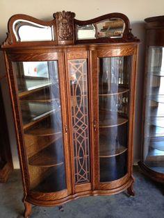 Circa 1900 Antique Oak Corner Cabinet Rare