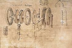 Léonard de Vinci-Facsimile of Codex Atlanticus f.8v-b Transformation of Alternating to Continuous Motion: Design for