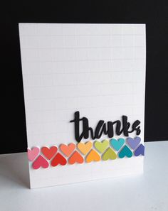 "An embossed grid as the background makes the placement of these heart paint chips super easy. Love the ""thanks"" from the Simon Says Stamp Painted Thanks die set. DIY thank you card"
