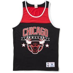 Mitchell & Ness Chicago Bulls NBA Color Blocked Tank Top ❤ liked on Polyvore featuring men's fashion, men's clothing, men's shirts, men's tank tops, shirts, tops, black, tanks, mens tank tops and mens woven shirts