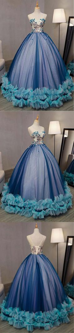 Blue tulle customize long V neck prom gown, long lace up evening dresses