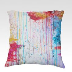 HAPPY TEARS  Fine Art Velveteen Throw Pillow Cover Decorative Home Decor Colorful Fine Art Toss Cushion, Modern Bedroom Bedding Dorm Room Living Room Style Accessories by EbiEmporium, $75.00