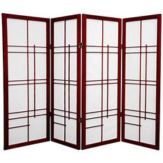 Oriental Furniture 4 ft. Tall Eudes Shoji Screen - Rosewood - 4 Panels