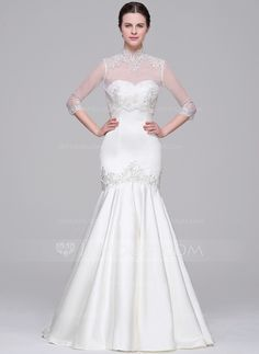 [US$ 159.99] Trumpet/Mermaid Sweetheart Court Train Satin Wedding Dress With Beading Appliques Lace Sequins (002071542)