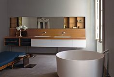 Wide mirror with hidden storage and floating storage unit for sinks  Agape - Bathrooms - Il paesaggio nascosto