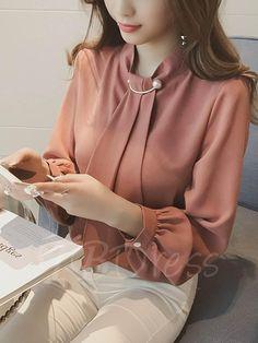 867a9806a80 2017 New Spring Sleeved White Shirt Female Korean Lantern Sleeve Chiffon Shirt  Collar Loose Backing Thin Shirt