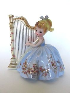Rare Josef Originals Robin Girl Playing Harp Figurine Musicale Series Signed