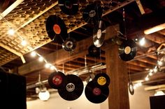 Old Skool Punk Rock Rockabilly Party! Tecords as decor - couldn't get any easier than this - a great DIY idea would look great over your dance floor! Wedding Theme Inspiration, Wedding Themes, Party Themes, Our Wedding, Wedding Venues, Retro Wedding Decor, Rockabilly Wedding Decorations, Music Party Decorations, Party Ideas