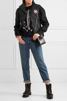 Black shell Snap and concealed zip fastening through front 85% polyester, 15% cotton; lining: 100% nylon; filling: 100% down (Duck); trim: 100% polyester Dry clean Made in Canada