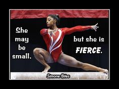 "Gymnastics Motivation Poster Simone Biles Photo Quote Encouragement Wall Art 5x7""-11x14"" She May Be Small But She Is Fierce - Free Ship by ArleyArt on Etsy"