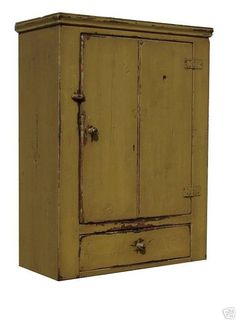 Primitive Cabinet Painted Country Furniture | Primitive wall cupboard cabinet painted country pine early ...