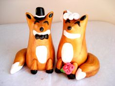 What does the Fox say? I do!  Fox Wedding Cake Topper Polymer Clay FoxWedding by MagicalGifties, $54.99