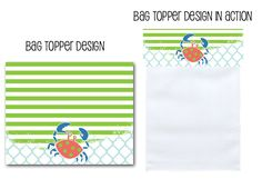 treat bag toppers, favor bag toppers, crab party, birthday party ideas, crabs, crabby party, baby shower ideas