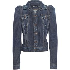 DSQUARED2 Easy Wash Denim Blue // Jacket with accentuated shoulders ($685) ❤ liked on Polyvore featuring dsquared2