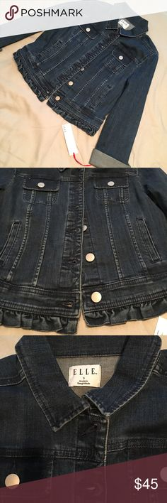 NWT Elle denim jacket with ruffles New Elle denim jacket in size small. This jacket has an adorable ruffled edge to give you that feminine yet edgy look. Elle Jackets & Coats Jean Jackets