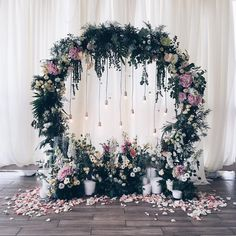 Arch Trend Alert: Floral Moon Gates -Wedding Flower Arch Trend Alert: Floral Moon Gates - (See other photos with a lace backdrop in burgundy tones) Wedding arch metal altars 26 ideas Set of 3 wedding arches to decorate the hall with beaded Wedding Arch Flowers, Wedding Ceremony Ideas, Wedding Stage, Ceremony Backdrop, Wedding Trends, Wedding Day, Wedding Arches, Backdrop Ideas, Wedding Flower Backdrop