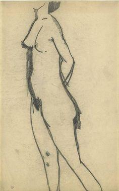 Amedeo Modigliani (It, - Standing Nude - 1908 - Black crayon, 43 x cm. Amedeo Modigliani, Gesture Drawing, Life Drawing, Drawing Sketches, Figure Sketching, Figure Drawing Reference, Figure Drawings, Black Crayon, Renaissance Paintings