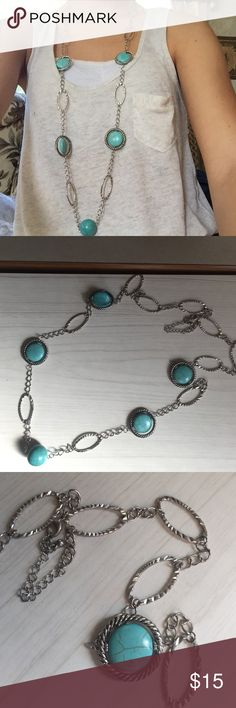 Long turquoise silver necklace Long turquoise and silver colored necklace size is adjustable like new perfect for summer Jewelry Necklaces