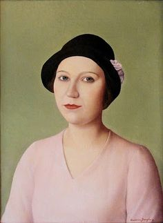 Portrait of a Woman in Hat (1931) by Antonio Donghi (1897-1963), Italian - His work was far outside the mainstream of modernism. He was one of Italy's leading figures in the neoclassical movement that arose in the 1920s. Possessed of an extremely refined technique, Donghi favored strong composition, spatial clarity, and populist subject matter. His figures possess a gravity and an archaic stiffness reminiscent of Piero della Francesca (wiki) - (bjws)