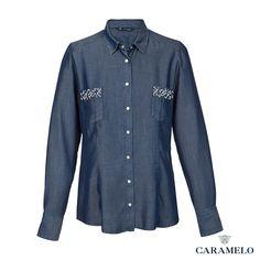Camisa cassual vaquera con fantasías de perlas en los bolsillos de la colección otoño-invierno 2013-2014 de Caramelo