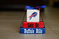 Buffalo Bills Football Wood Block Stack NFL Home Decor